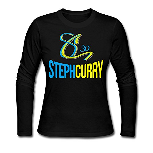 100% Pre-washed Cotton Women's Curry Basketball Logo T-shirts S Black