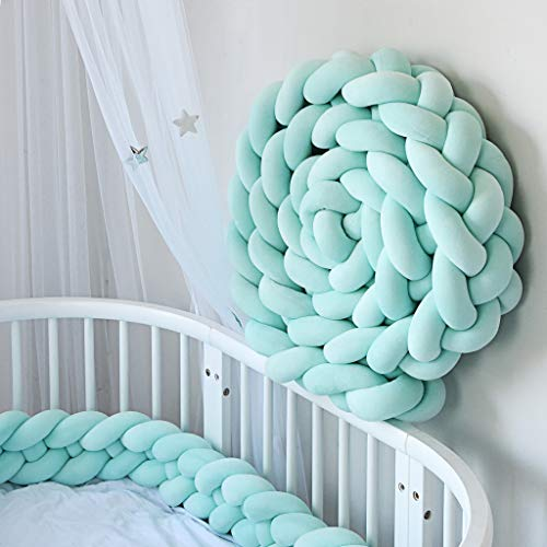 Baby Crib Bumper by Voberry Infant Soft Pad Braided Crib Bumper Knot Pillow Cushion Cradle Decor (D)