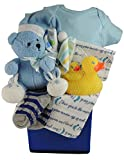 Love You to the Moon and Back, Baby Boy Gift Basket: Swaddling/Receiving Blanket by Jesse & Lulu, Cotton Onesie by Baby Mode and more