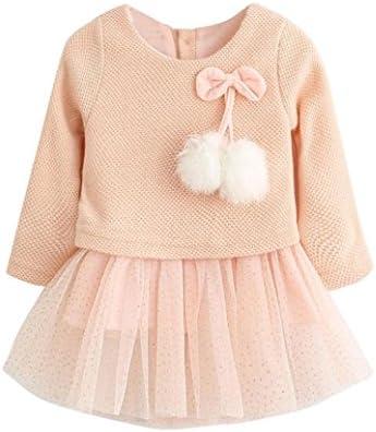 b1b2a492f Los bebés y los niños pequeños de manga larga de lana tejida de lana de  hilo vestido de niña dorada (Borgoña)