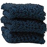 3 Indigo Blue Crochet Round Dishcloth Set Long Lasting 100% Cotton