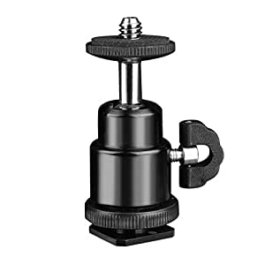 """Konsait Mini Ball Head with Lock and Hot Shoe Adapter Camera Cradle 1/4"""" Mount Adapter To Video Camcorder Hot Shoe For LCD Monitors"""