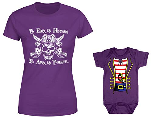 HAASE UNLIMITED to ERR is Human/Pirate Costume 2-Pack Bodysuit & Ladies T-Shirt (Purple/Purple, X-Large/12 Months) ()