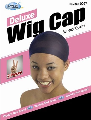 DREAM Deluxe Wig Cap Black 2 pc (Model: 097 BLACK), Spandex cap, Wig cap, Mesh cap, Snood, Hair net, Fish (Black Wig Cap)