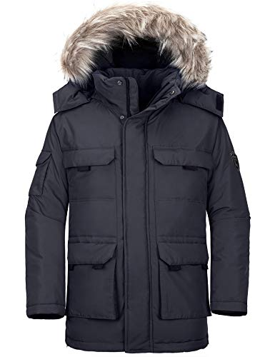 Wantdo Men's Parka Puffer Coat Winter Military Cotton Quilted Jacket Gray Small