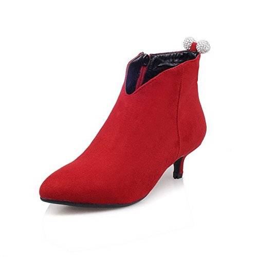 Boots Solid Red top Pointed Imitated Women's AgooLar Kitten Suede Heels Low Toe Closed waPnqxF