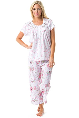 Smocked Capri Set - Casual Nights Women's Short Sleeve Embroidered Floral Capri Pajama Set - Pink - X-Large