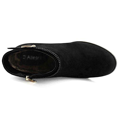 Ankle Women's Strap K Black Rhinestone Chunky Heel Booties 7 Allegra US Size qC5Oxnwq