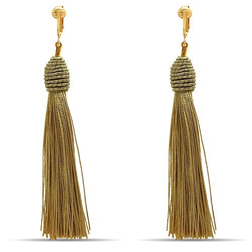 Clip Earring Shop-Clip On Tassel Earrings-Dangle Clip On Earrings Silk Tassel Long Clip Earrings Bohemian (Gold-tone Modern Tassels)