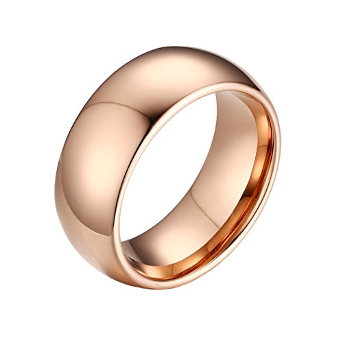 MAIKEDIAO 8mm Domed Tungsten Carbide Wedding Band Rings For Men Women Beveled Edge Comfort Fit Size 5-13 (rose gold(tungsten), 10) ()