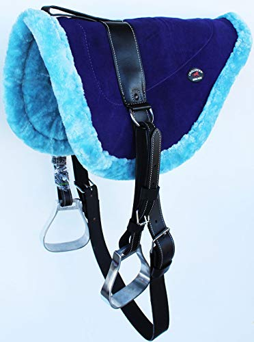 CHALLENGER Horse Saddle PAD Western Tack Suede Leather Bareback Stirrups 39179