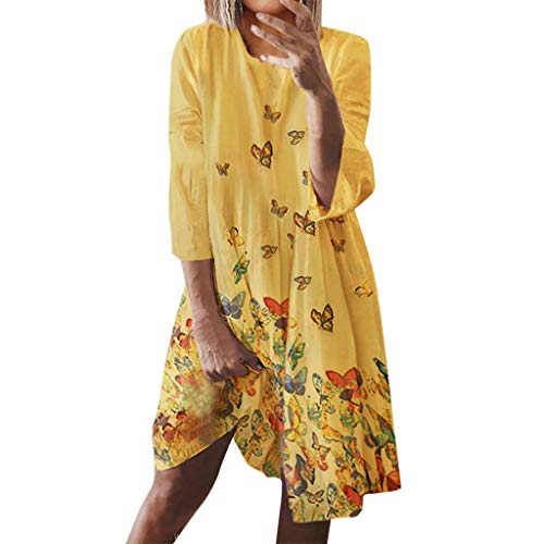 Willow S Women's Fashion Casual Sexy Sleeveless Backless Printed Halter Mid Calf Dress Yellow