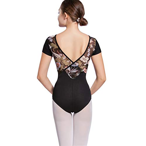 Limiles Women's Ballet Dance Short Sleeve Floral Print V Back Leotards