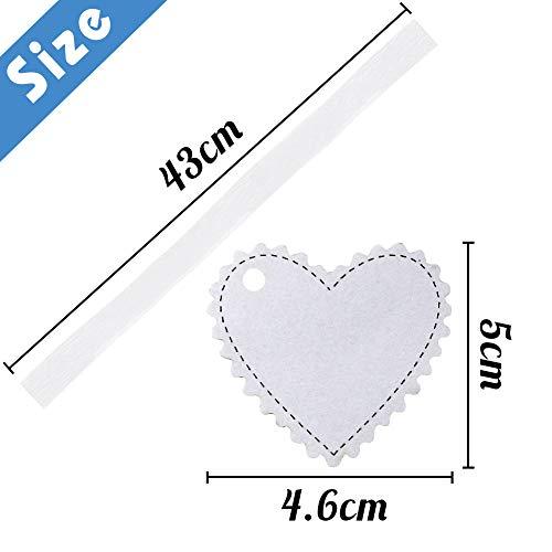 VGOODALL 100 Stk. Geschenkanhänger Kraft Papier Weiß Herz Geschenk Anhänger Etikette für Hochzeit Geburtstag Party Decor