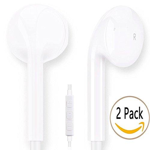 2 Pack Earbuds, Vimme iPhone Earbuds In Ear Headphones with Microphone Mic & Remote Earphones for iPhone 6s 6 Plus 5s 5 4s 4 SE iPad iPod 7 8 7s IOS S8 S7 S6 Note 1 2 3 Earbuds Earphones