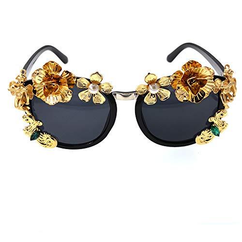 Retro GWF Sol de Flor Combinar Conducir para Perla Fácil de la UV Metal Protección Verano Gafas de de Viajar la de Moda Lady zExYBqZzr8
