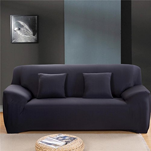 Gotd Double Sofa Couch Slipcover Stretch Covers Elastic Fit Fabric Settee Protector Solid Color, Suitable for sofa size: 145-185cm (Black)