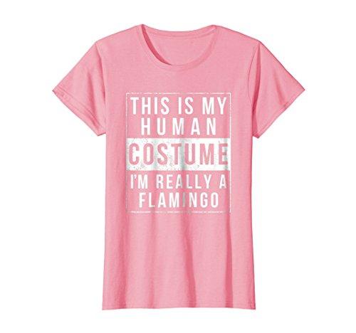 Womens Flamingo Halloween Costume Shirt Easy Funny Medium Pink