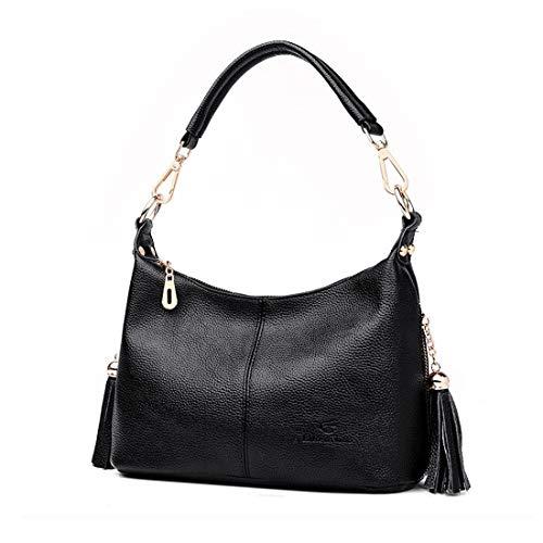 Artwell Women Shoulder Handbag Purse Leather Tassel Crossbody Bag Small Messenger Bag Multi Pockets Satchel (Black) by Artwell