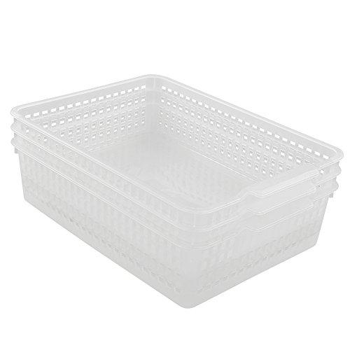 Lesbin Clear Storage Baskets, Tray Basket Organization, 3-Packs