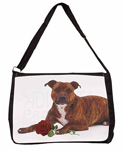 Staffie with Red Rose Large 16 Black School Laptop Shoulder Bag