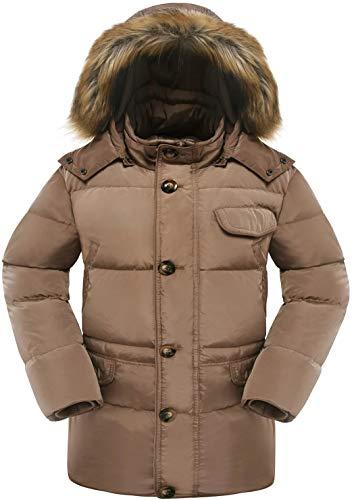 33a49ee74 Valuker Men's Down Coat With Fur Hood 90D Parka Puffer Jacket Khaki-S