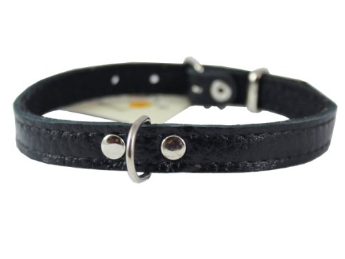 Product image of Dogs My Love Genuine Leather Felt Padded Dog Collar X-Small 11