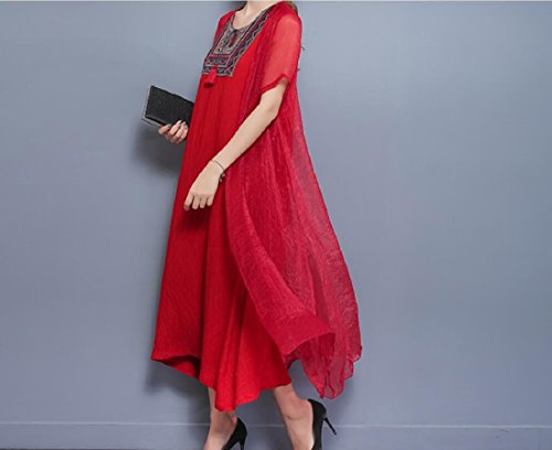 Coolred Embroidery Piece Women Style Fake Dress Folk Linen amp;Cotton Red Two rr81qpB