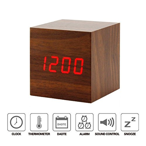 Sound Control Electronic Alarm Clock DB.WOR Mini LED Light Temperature Display Portable Digital Travel Clocks Healthy and Fashionable For Home & Office (Brown Wood + Red Light)