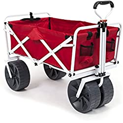 Mac Sports Heavy Duty Collapsible Folding All Terrain Utility Wagon Beach Cart (Red/White) …