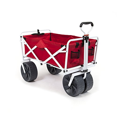 Mac Sports Heavy Duty Collapsible Folding All Terrain Utility Wagon Beach Cart (Red/White)