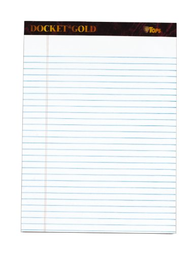 TOPS Docket Gold Writing Tablet, 8-1/2 x 11-3/4 Inches, Perforated, White, Legal/Wide Rule, 50 Sheets per Pad, 3 Pads per Pack (63963)