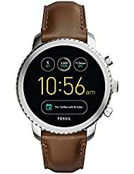 Fossil Q Men's Gen 3 Explorist Stainless Steel and Leather Smartwatch, Color: Silver-Tone, Brown (Model: FTW4003)