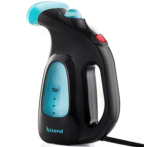 Steamer for Clothes, Garment, Fabric - Portable, Handheld Steamer - Safe and Little Handy, Anti-Spill - Home and Travel - Compact Mini Steamer for Shirt, Dresses, Curtain with Accessories (Black) by BIZOND