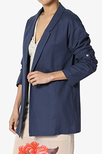 TheMogan Junior's Casual Relaxed Fit Boyfriend Lined Blend Blazer Jacket Navy S by TheMogan (Image #3)