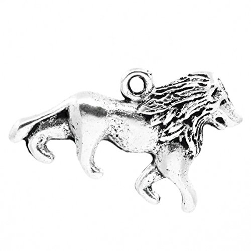 (Housweety 30pcs Charm Pendants lion Animal Silver Tone 26mmx17mm(1