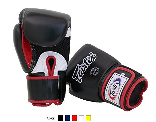Fairtex Muay Thai Boxing Gloves BGV1 BR Breathable Black/White/Red 14 oz Training & Sparring Gloves for Kick Boxing MMA ()