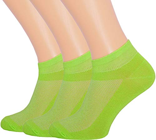 3 Pack Unisex Ultra Thin Breathable Dry Fit Low Cut Running Ankle Socks color Neon Green, Shoe Sizes 6-12 US/Socks Sizes 10-13 ()