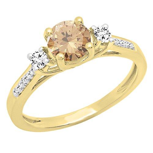 Diamond Ring Setting 18k - Dazzlingrock Collection 18K 5 MM Champagne Diamond, White Sapphire & Diamond Ladies Engagement Ring, Yellow Gold, Size 5