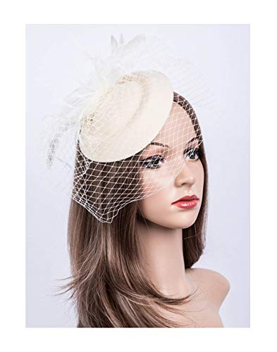 Fascinators Hats 20s 50s Hat Pillbox Hat Cocktail Tea Party Headwear with Veil for Girls and Women -