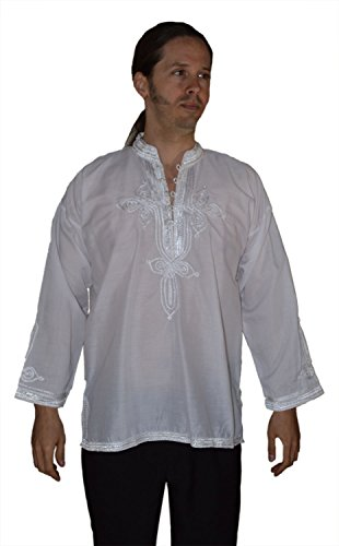 Marrakesh Men Tunic Caftan With White Tread Embroidery Breathable X-large White by Moroccan Men Clothing