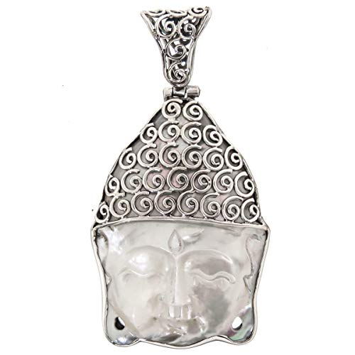 2 3/16'' Mother of Pearl Shell Buddha 925 Sterling Silver Pendant YE-2252