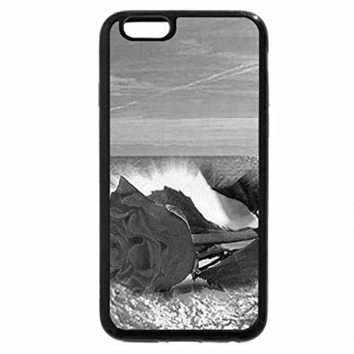 iPhone 6S Case, iPhone 6 Case (Black & White) - red rose on the beach