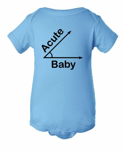 Unisex Infant Acute Baby. A Cute. Funny Math Trig trigonometry Obtuse Angle Onesie-Light Blue-New Born