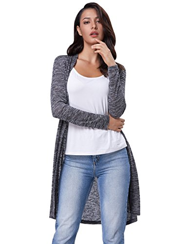 Length Knee Cardigan (GRACE KARIN Casual Simple Long Sleeve Knee Length Cardigan Sweater Size 2XL Grey)