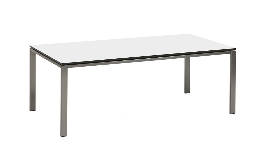 Bony Design Esstisch Edelstahl mit Weiss Trespa Blatt - 76 × 198 × 100