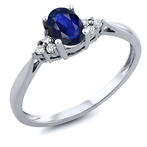 14K White Gold Blue Sapphire and Diamond Women's Ring (0.45 Ctw Oval Available in size 5, 6, 7, 8, 9)