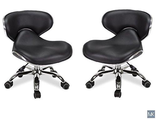 MAYAKOBA SET OF 2 Nail Salon Pedicure Stool UMI BLACK Pedicure Chair Short Adjustable Comfort Pneumatic Pump Salon Furniture & Equipment -