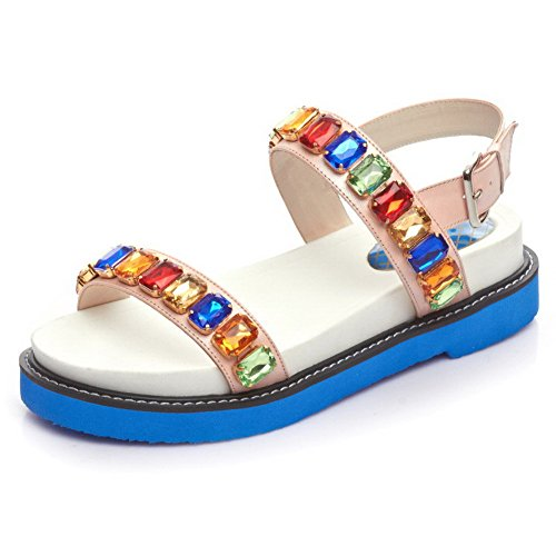 AllhqFashion Womens Round Open Toe Kitten Heels Cow Leather Sandals with Buckle and Zircon Pink va4eyjST