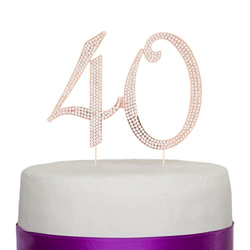 - Ella Celebration 40 Cake Topper for 40th Birthday or Anniversary Rose Gold Number Party Supplies and Decoration Ideas (Rose Gold)